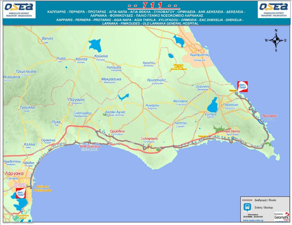 Схема курсирования маршрута № 711 / фото cyprusbybus.com