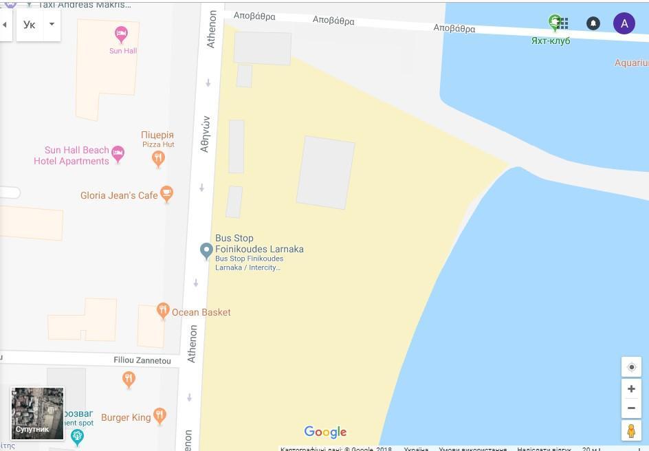 """С остановки на набережной """"Финикудес"""" можно уехать в другие города Кипра / скриншот"""