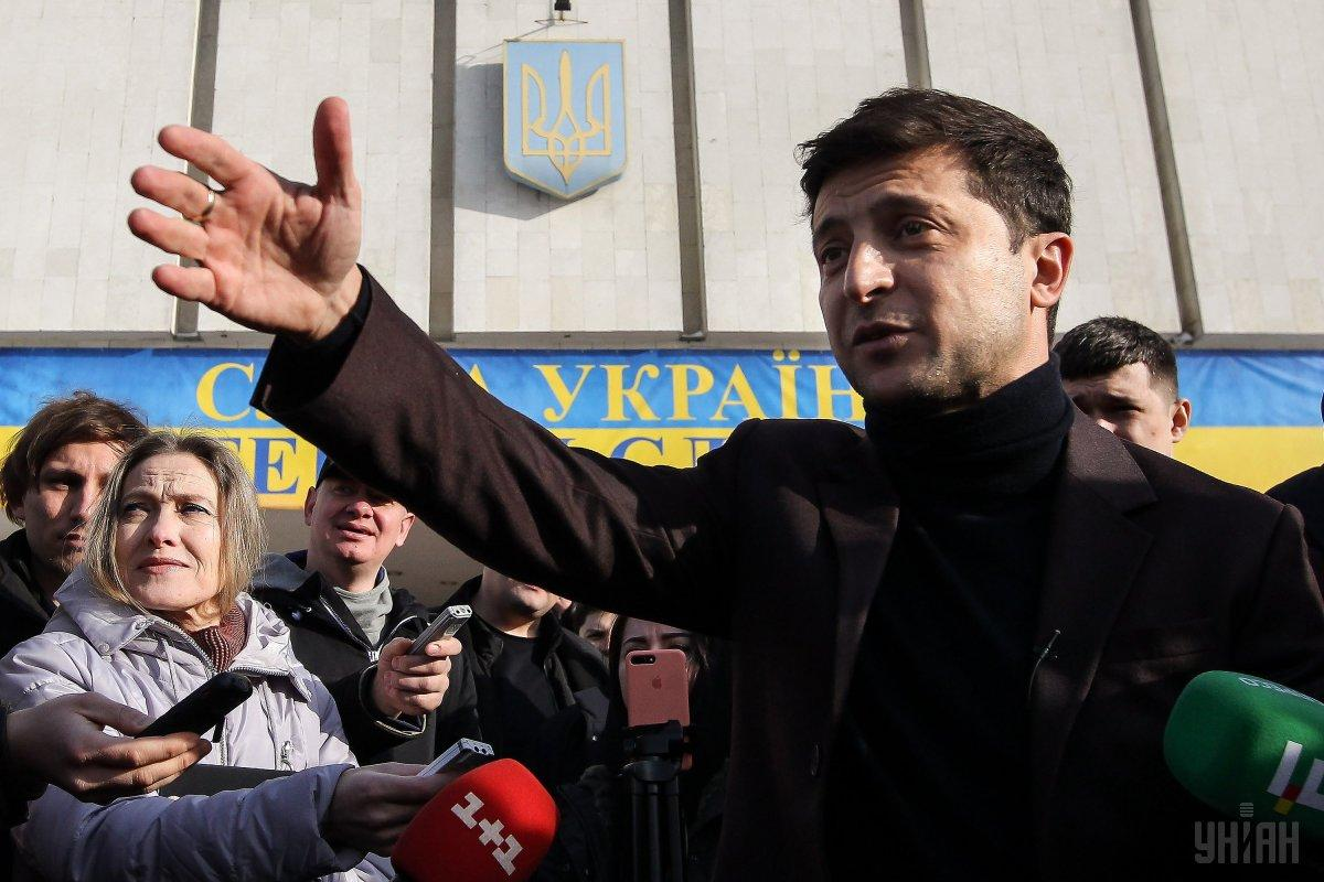 Владимир Зеленский возле ЦИК / фото УНИАН