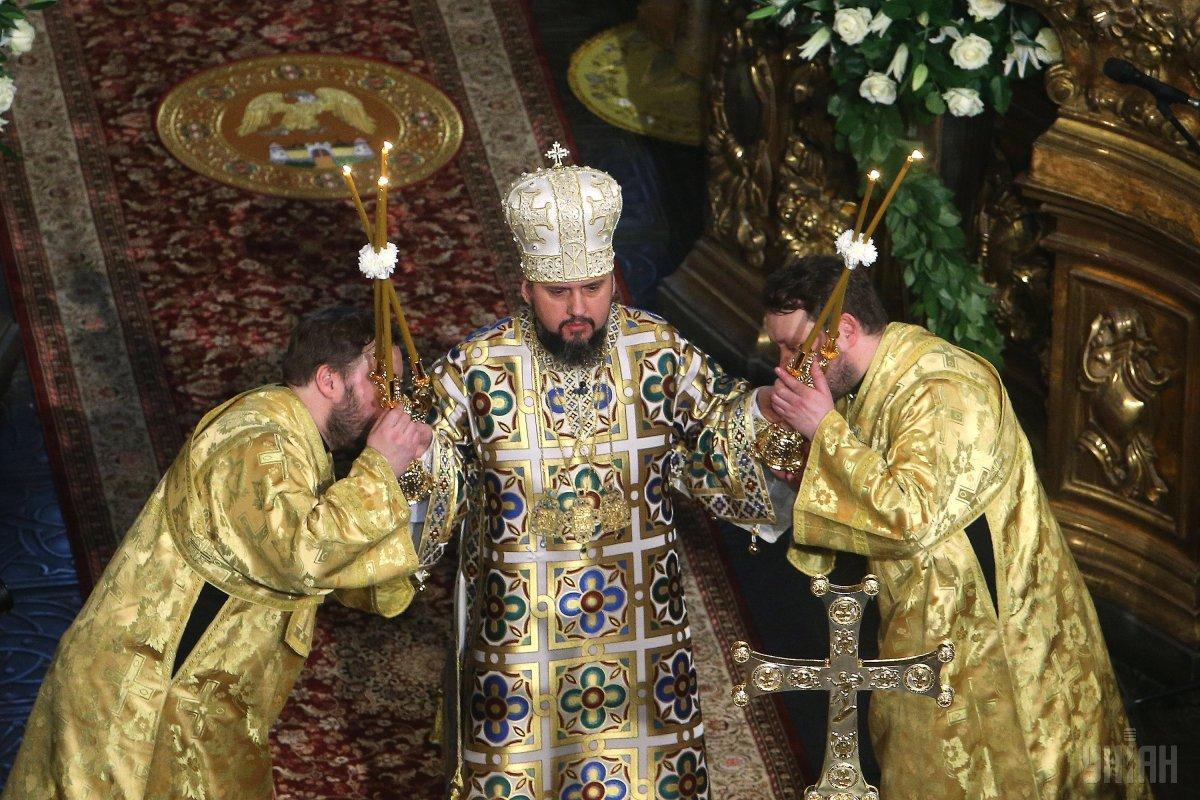 Митрополит Епифаний проводит рождественское богослужение в соборе / фото УНИАН