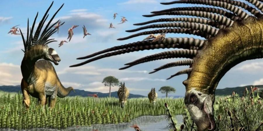 У динозавра на шиї були дуже довгі загнуті вперед відростки \ Ілюстрація: Jorge A. González