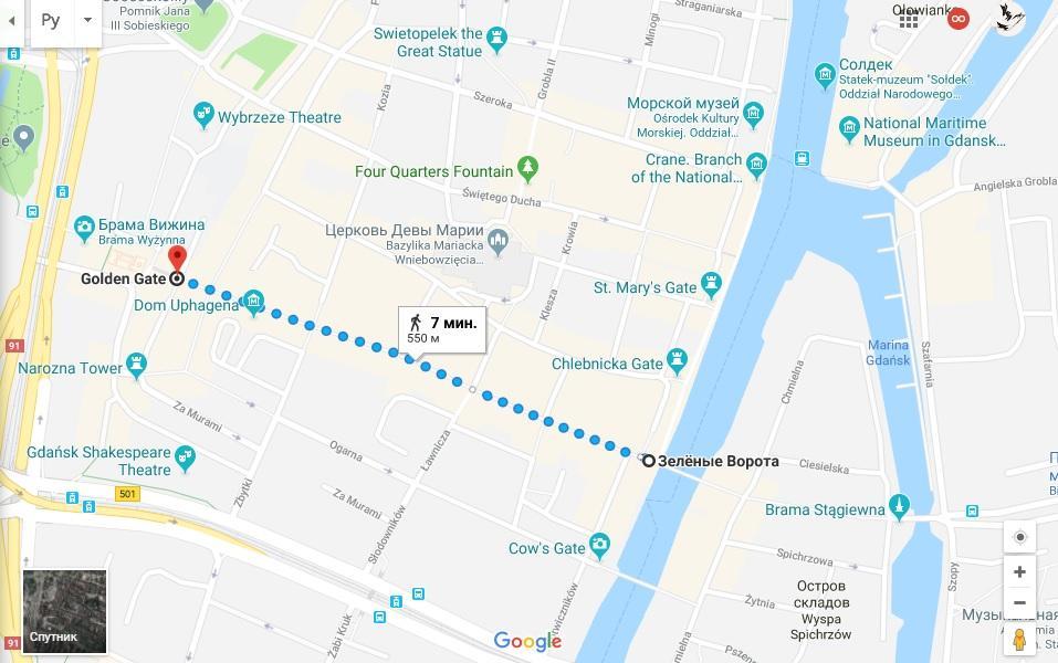 Карта Королевского тракта в Старом городе Гданьска / Скриншот
