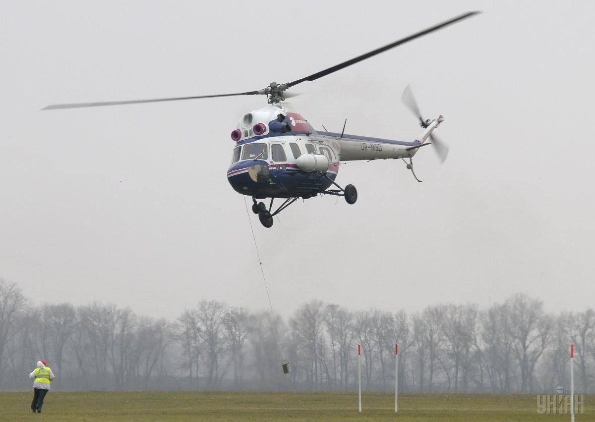 На Львовщине упал вертолет Ми-2 / фото УНИАН
