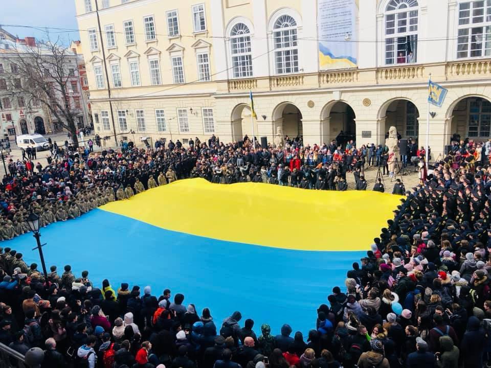 Событие приурочили к 154-й годовщинесо дня первого публичного исполнения гимна Украины \ Фото: Наталия Волосацкая