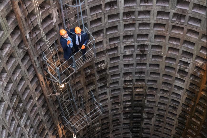 Мер столиці спустився у монтажну шахту на глибину 40 метрів/ фото: прес-служба Кличка