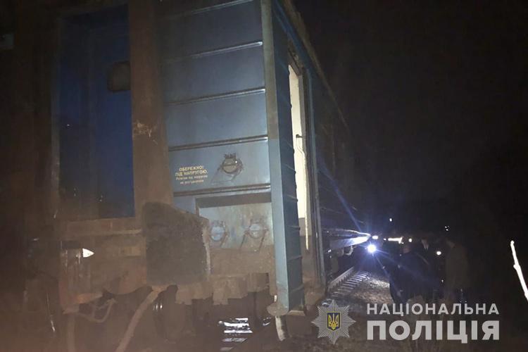 С рельсов сошел средний вагон дизель-поезда / Фото пресс-службы Нацполиции Тернопольщины