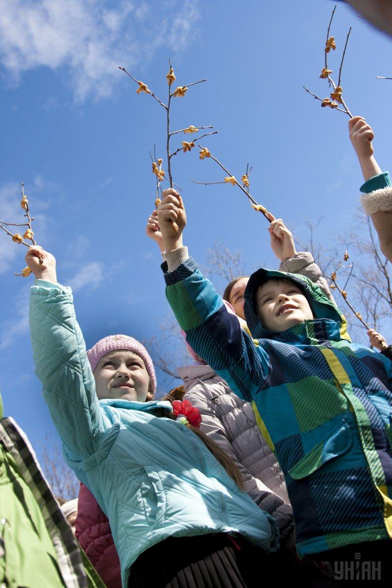 Діти тримають печиво у формі пташечок на гілках під час свята Сорока святих/ фото УНІАН