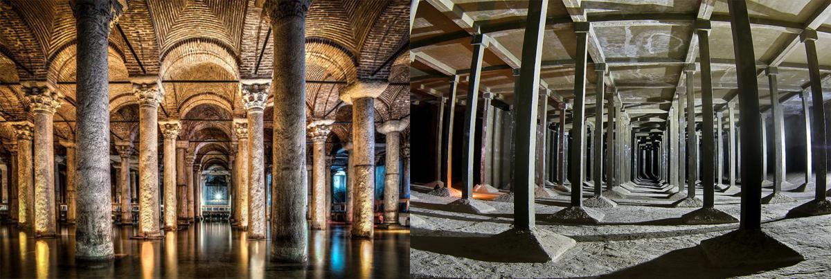 «Цистерна Базилика» в Стамбуле (слева) и киевское водохранилище (справа) / Коллаж УНИАН / Коллаж УНИАН