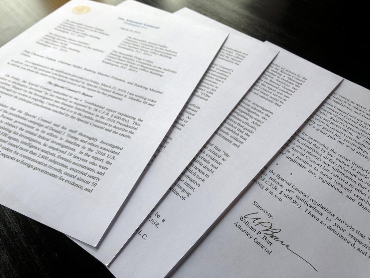 Письмо Уильяма Барра круководствуКонгресса США / REUTERS
