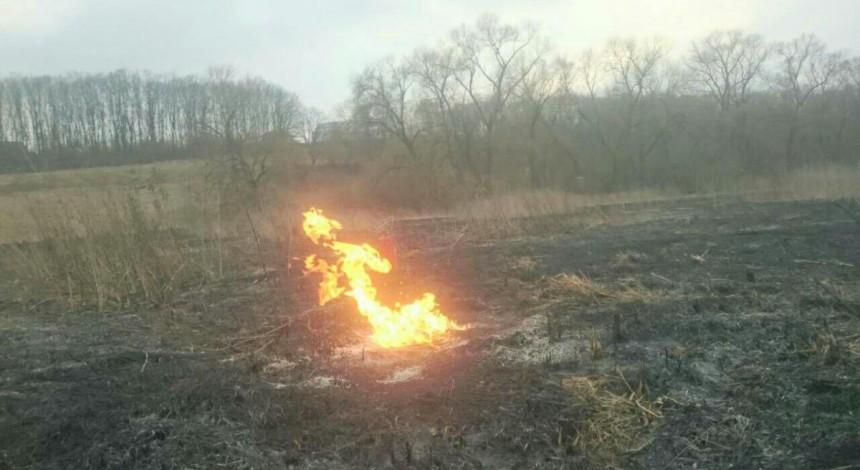 На Тернопільщині через спалення сухої трави загорівся газопровід