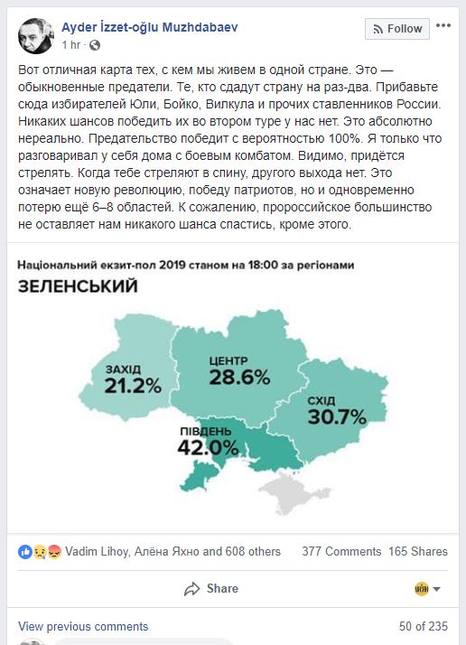 Скриншот скандального поста Муждабаева на своей странице в Facebook | facebook.com/ayder.muzhdabaev