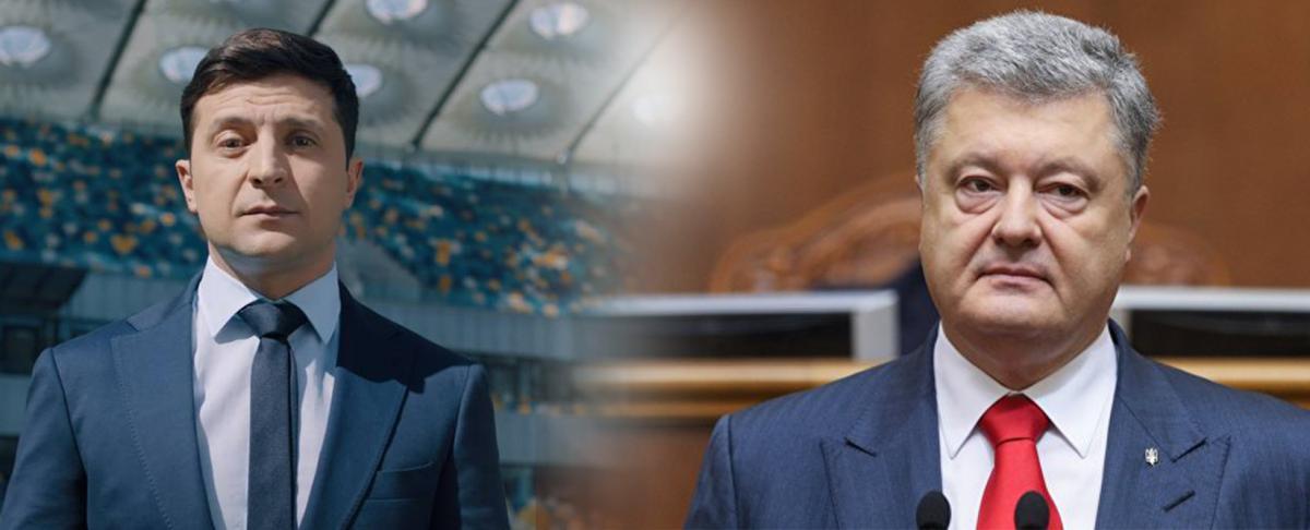 18 квітня на каналі Суспільного телебачення Зеленському надано ефірний час з 20.00 до 20.30, Порошенку - з 20.51 до 21.21 / колаж УНІАН