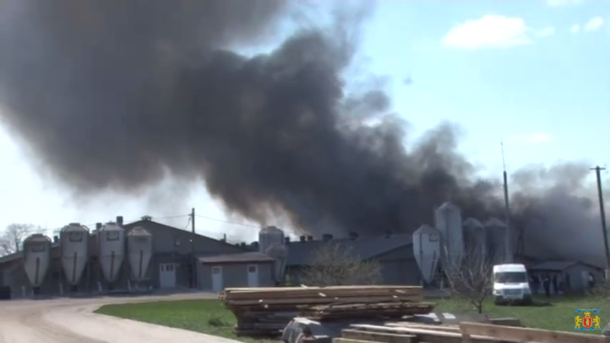 На Львовщине горела ферма / скрин видео