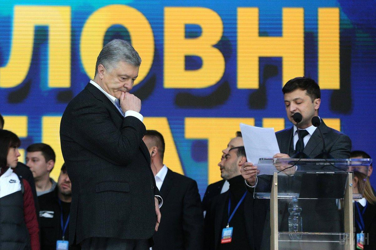Olimpiyskiy Stadium hosted the debate between Poroshenko and Zelensky on Friday / Photo from UNIAN