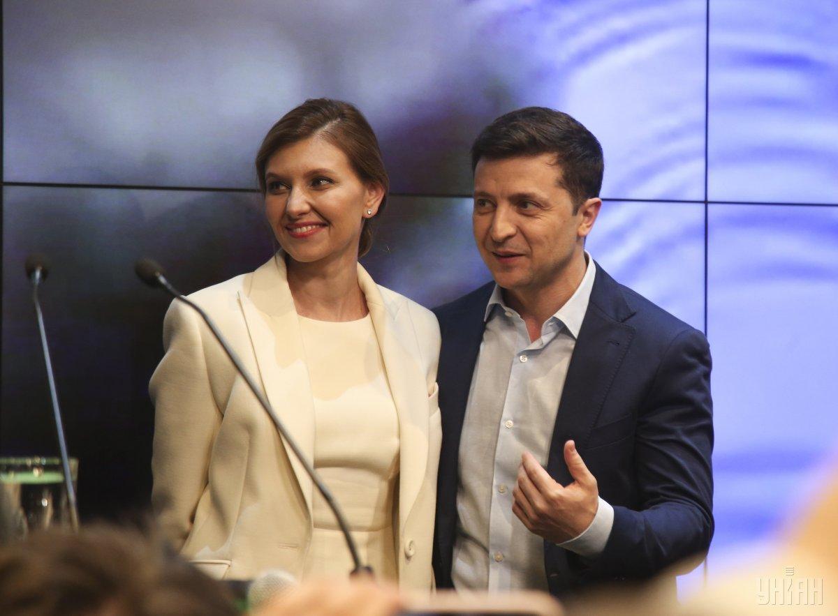 Владимир и Елена Зеленские после объявления результатов экзитполов / фото УНИАН