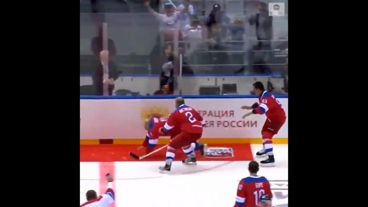 Путин распластался на льду / скриншот