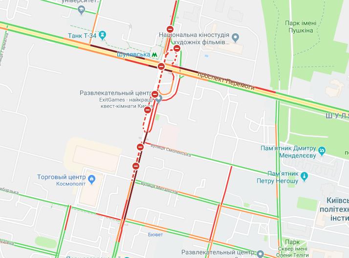Пробки на месте реконструкции Шулявского моста / скриншот