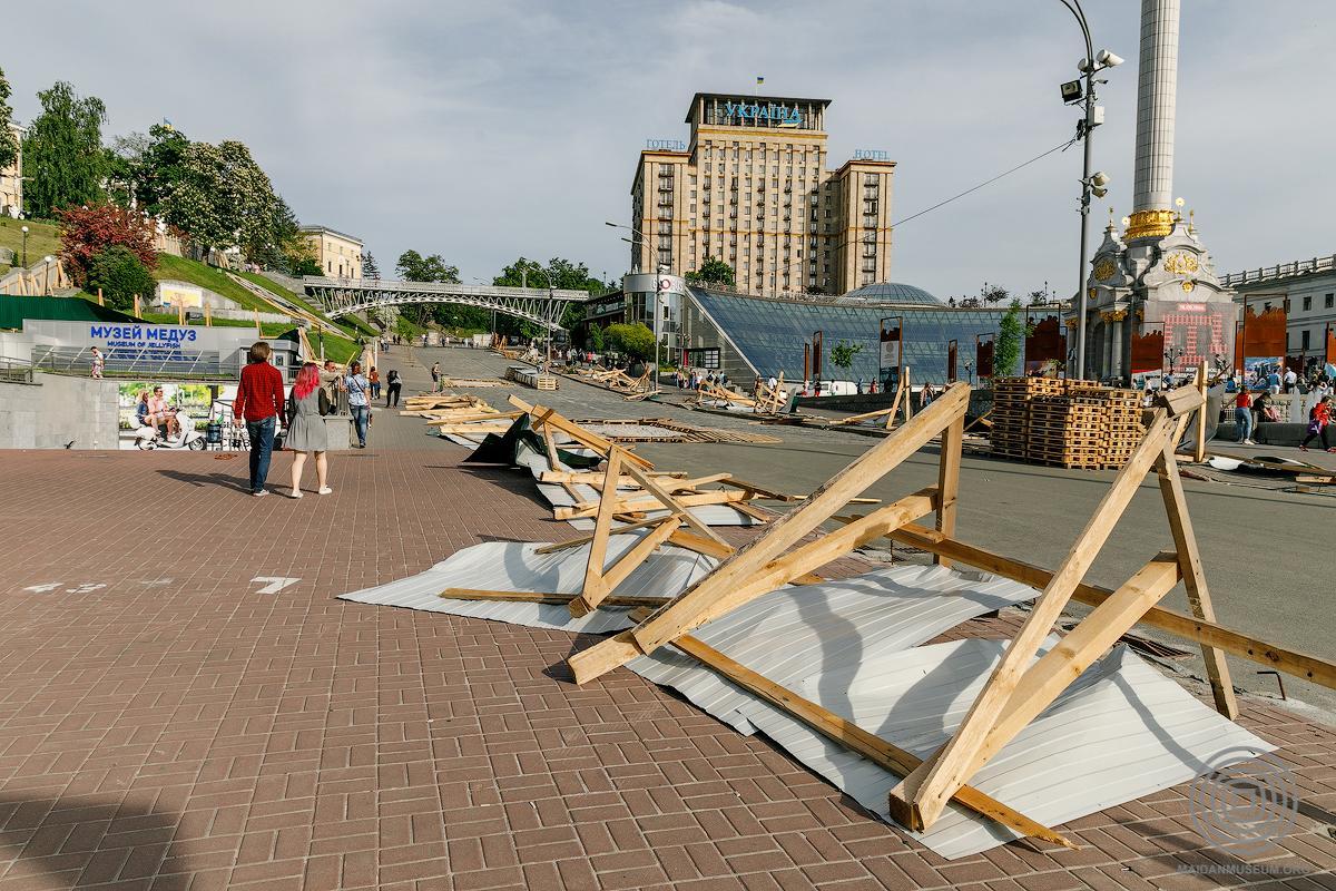 Музей Революции достоинства раскритиковал активистов, которые снесли забор на Институтской / maidanmuseum.org