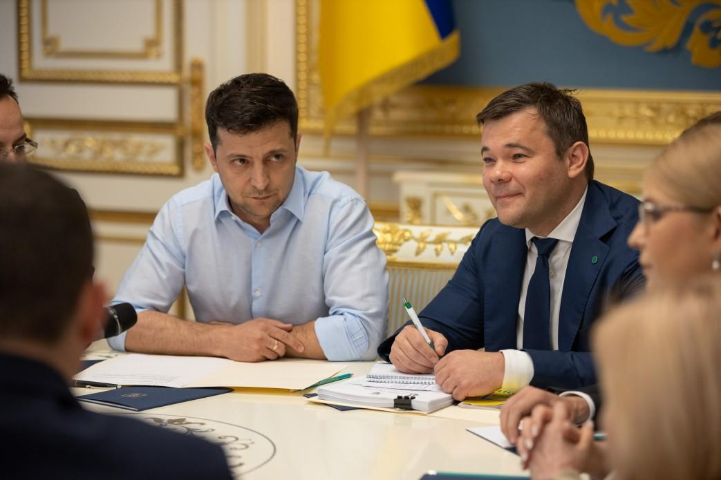 Владимир Зеленский и Андрей Богдан на встрече с главами фракций / Фото: president.gov.ua