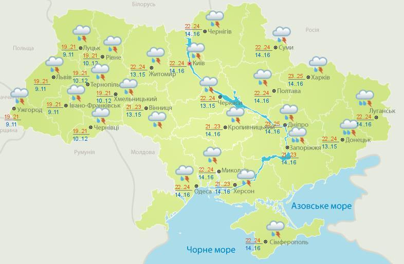 карта Укргідрометцентру