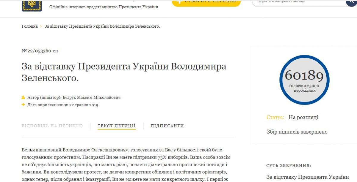 Скриншот петиции об отставке Зеленского