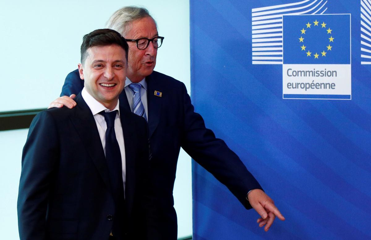 Президент Украины Владимир Зеленский и президент Еврокомиссии Жан-Клод Юнкер \ REUTERS