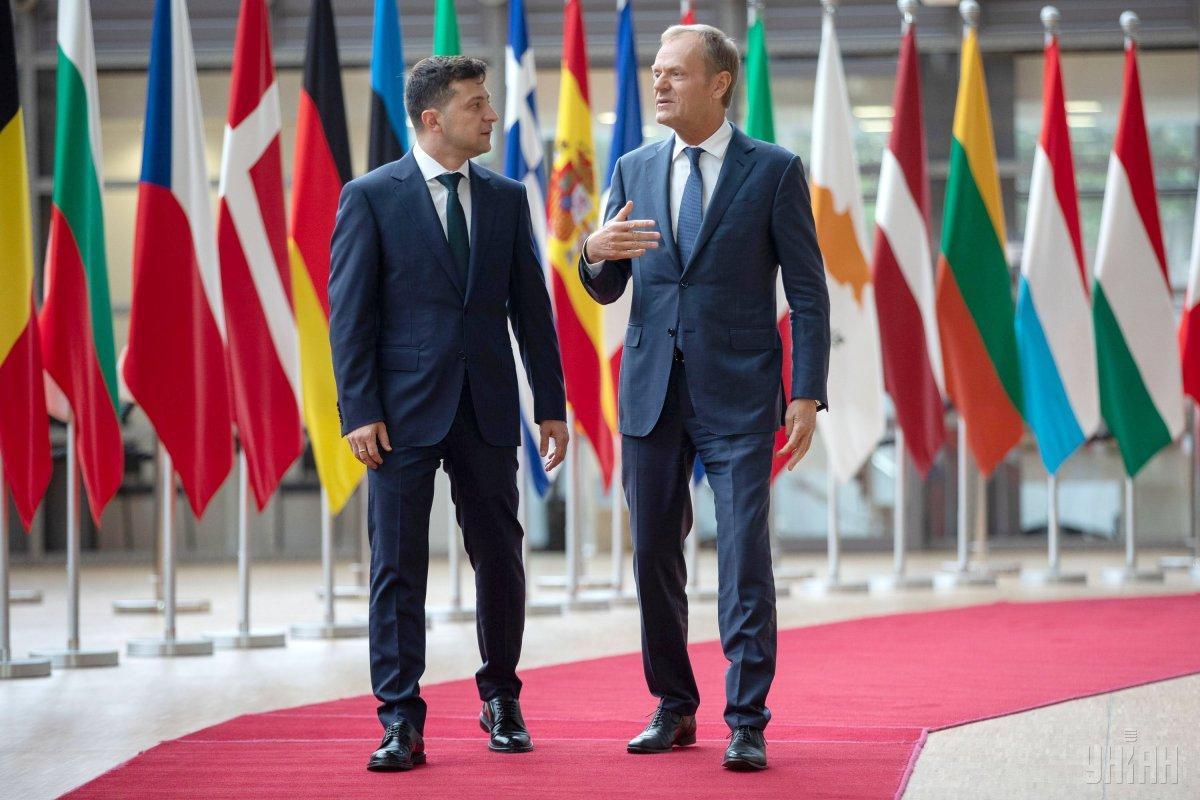 Зеленский встретился в Брюсселе с Дональдом Туском / фото УНИАН