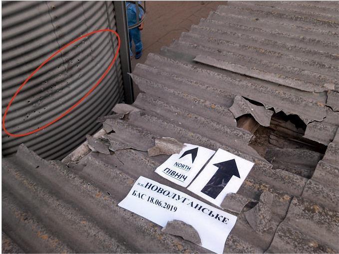 Наблюдательная группа зафиксировала повреждение кровли производственного помещения / фото facebook.com/pressjfo.news