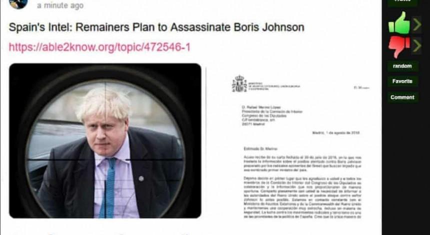 Russians spread fake plot to assassinate Boris Johnson on social media
