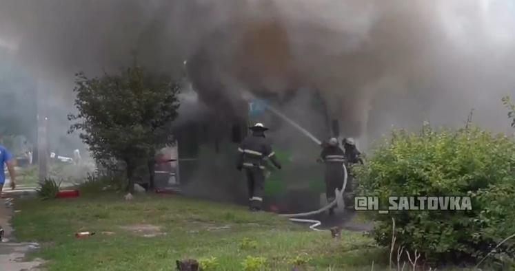 В Харькове горела маршрутка / скрин видео
