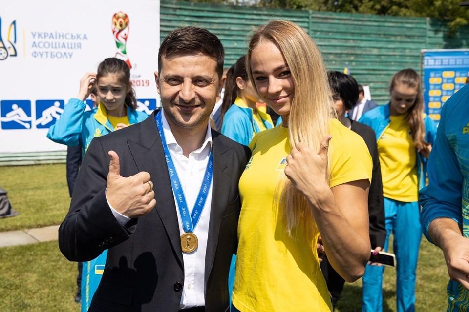 Владимир Зеленский и дзюдоистка Дарья Белодед / фото: НОК Украины