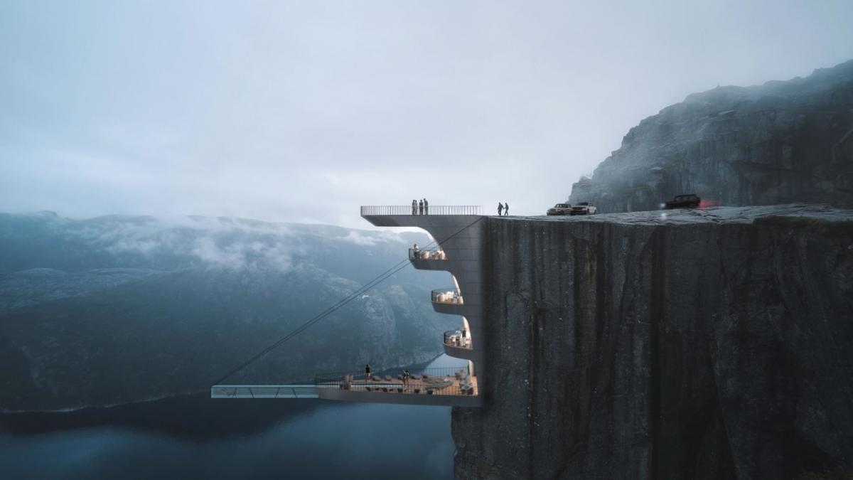 На першому рівні буде розташований басейн, який виступає зі скелі / фото: www.wprost.pl