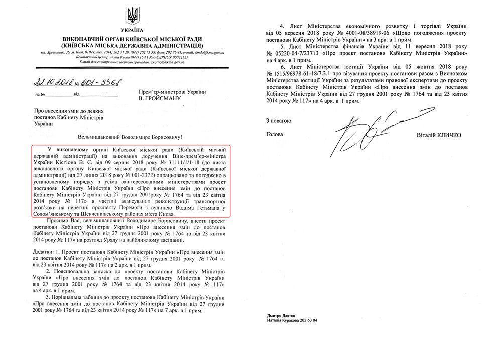 Отправленный из КГГА вКМУ проект постановления о разрешении на 100% предоплаты стоимости строительства Шулявской развязки