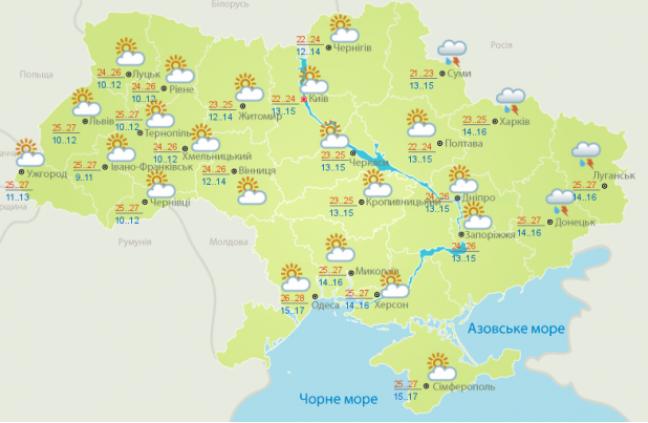 Прогноз погоди на неділю, 18 серпня, від Укргідрометцентру