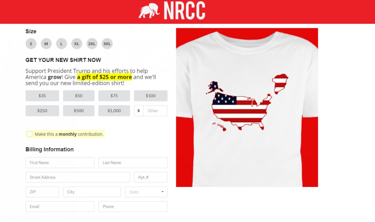 В США продают футболки с Гренландией в составе Штатов / Скриншот, contribute.nrcc.org