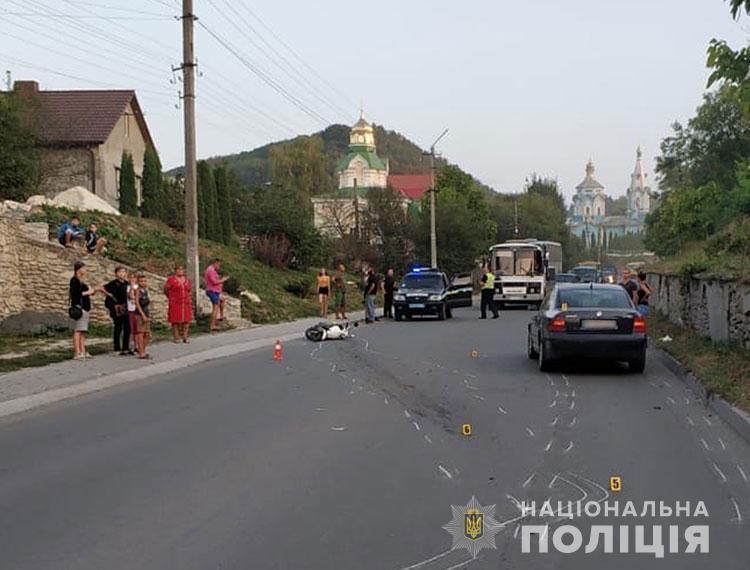 Жданкін, керуючи скутером, зіткнувся з іномаркою / фото ГУ НП в Тернопільській області