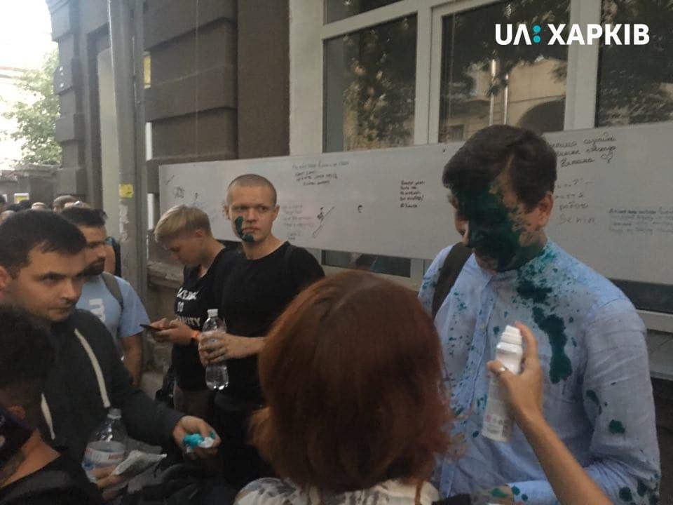 Донія облили зеленкою / facebook.com/suspilne.kharkiv