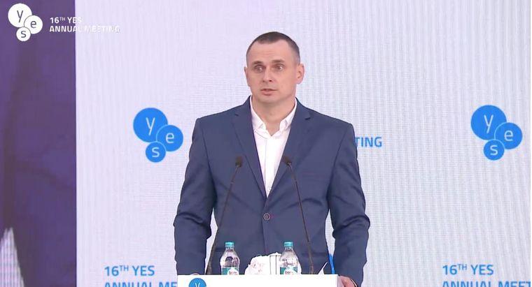 Сенцов выступил на конференции YES в Киеве / скрин видео