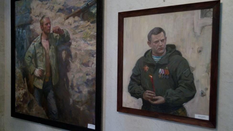 """На одній із картин зображено знищеногоглаву """"ДНР""""Олександра Захарченка / krymr.com"""