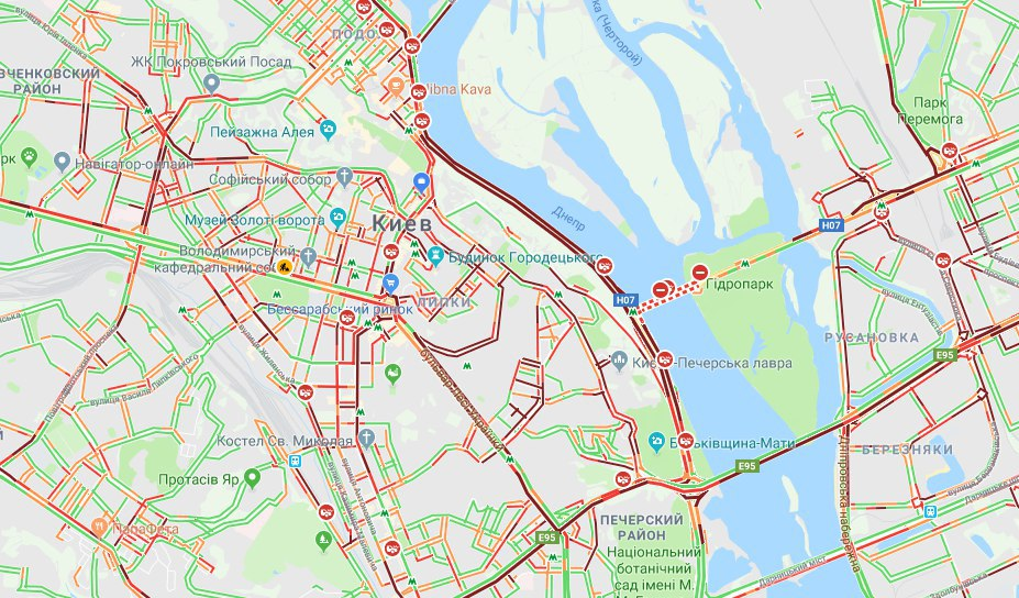 Киев сковали 10-балльные пробки / скриншот
