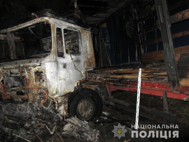 После столкновения грузовик загорелся / фото zp.npu.gov.ua