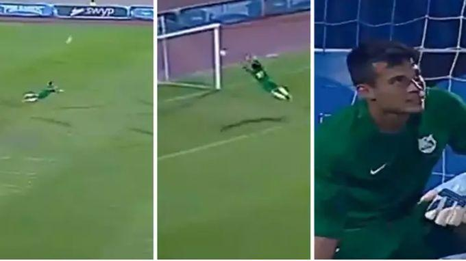 Махмуд Гад сперва выбил мяч головой, а затем спас ворота / sportbible.com
