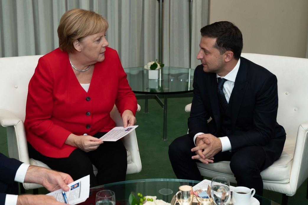 Владимир Зеленский и Ангела Меркель на полях 74-й Генассамблеи ООН / фото: president.gov.ua