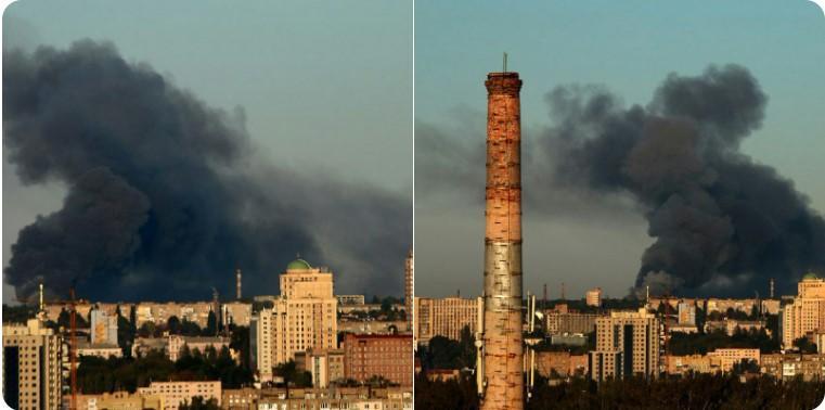 Черный дым от пожара видно за много километров/ фото: hochu domoy/Twitter