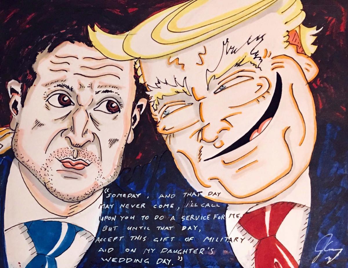 Карикатура Джима Керри на Трампа и Зеленского / Twitter, Jim Carrey