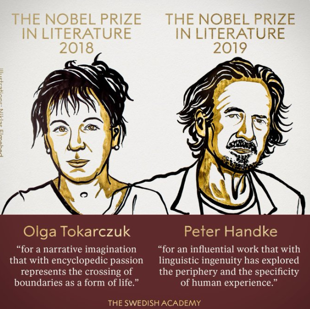 Нагороду присудили Ользі Токарчук і Петеру Хандеке / twitter.com/NobelPrize