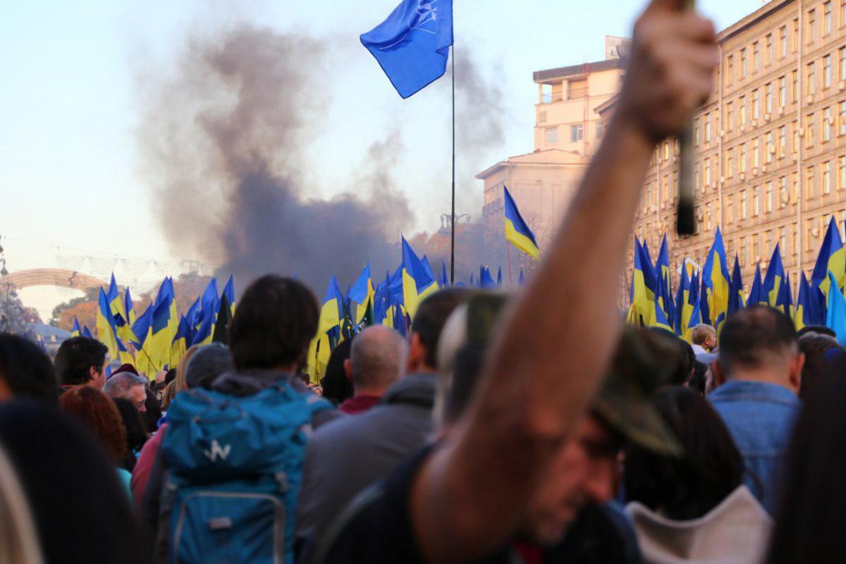 На Майдані Незалежності видно дим / фото УНІАН