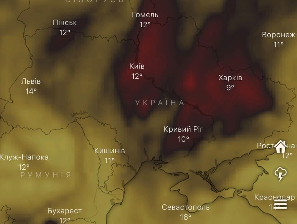 Карта поширення чадних газів не збігаєтьсяз картою поширення туману / facebook.com/angrycock