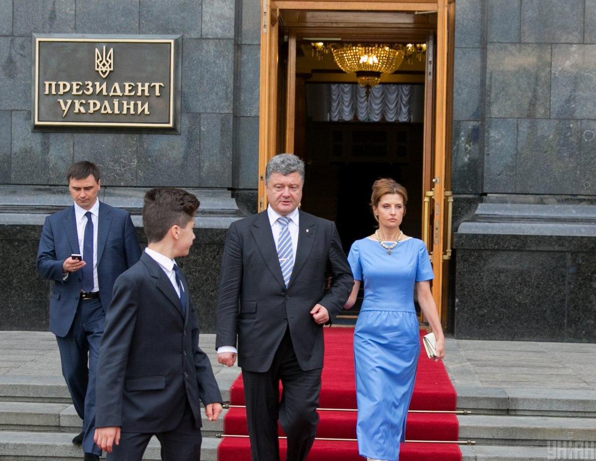 Вечірня інавгураційна сукня Марини Порошенко була в кольорах прапора / фото УНІАН
