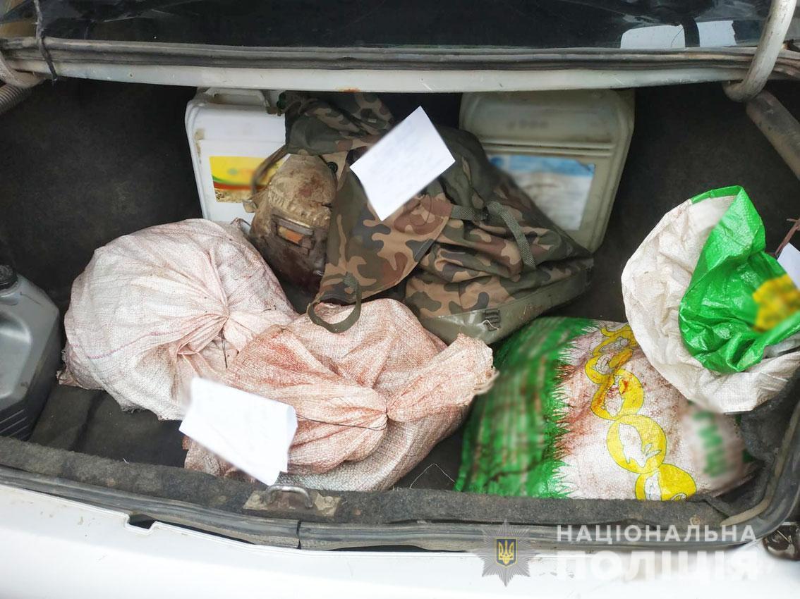 Браконьеры разделали тушу лося и расфасовали мясо в мешки / фото ГУ НП в Черниговской области
